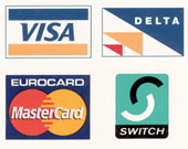 Most Credit Card are accepted and all purchases are carried out in a Secure Server.